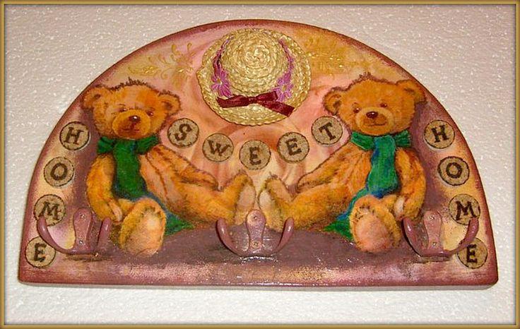 вешалка детская с мишками, декупаж, подрисовка, декор, дерево