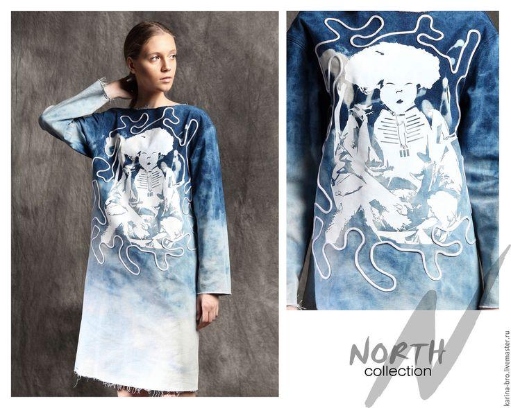 """Купить Платье джинсовое """"Лабиринт"""" - голубой, рисунок, джинсовый стиль, джинса, джинсовое платье, oversize"""