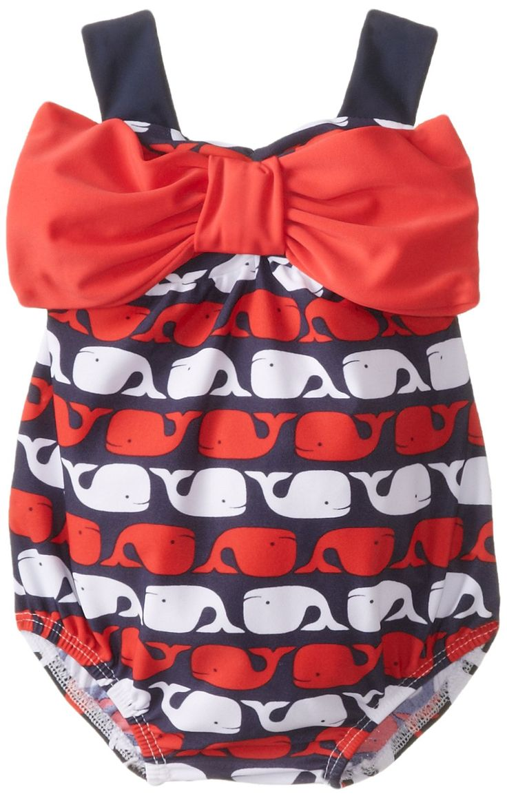 Mud Pie Baby-Girls Newborn Whale Bow Bubble Swimsuit, Blue, 0-6 Months... I need this!! I love baby whales!