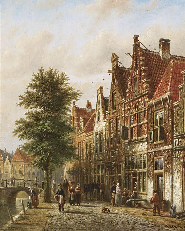 JOHANNES FRANCISCUS SPOHLER DUTCH THE GRACHTEN, AMSTERDAM: A PAIR