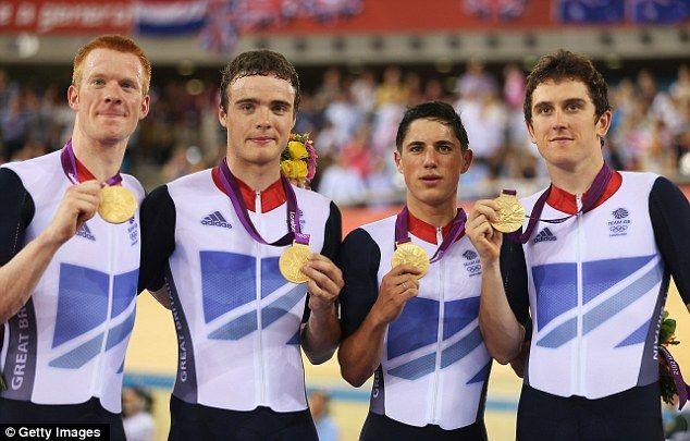Dream team: Edward Clancy, Steven Burke, Peter Kennaugh and Geraint Thomas celebrate their triumph