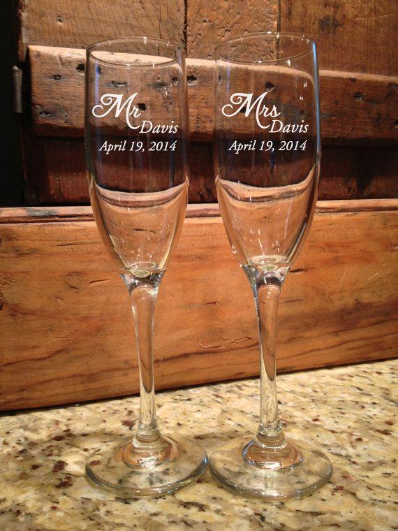 Personalized Wedding, Toasting glasses, wedding toasting glasses, Mr and Mrs, DIY wedding, Champagne Flutes, By ToYourDoorDecor on Etsy!