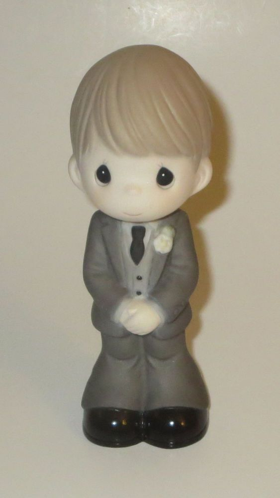 Groom Precious Moments Blond Hair Tuxedo Wedding Day Bisque Porcelain NWOB  #PreciousMoments