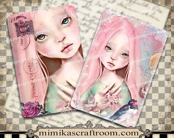 PINK DOLL  Digital Collage Sheet on Printable by mimikascraftroom