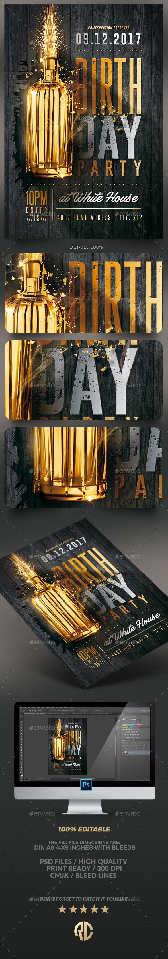 Gold Birthday Party | Flyer Template — PSD Template #party #flyer • Download ➝ https://graphicriver.net/item/gold-birthday-party-flyer-template/18405798?ref=pxcr