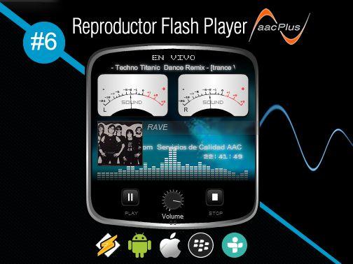 Reproductor Flash Player AACPlus #6 gratis optimizado con soporte en todos los navegadores web. Realmente son ultra ligeros. Para su Radio por Internet AACPlus. - www.surdatanet.net - www.moqueguahost.com - www.surdatacenter.com