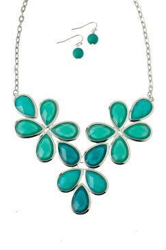 Turquoise Jewel Flower & Silvertone Statement Necklace Earrings Set