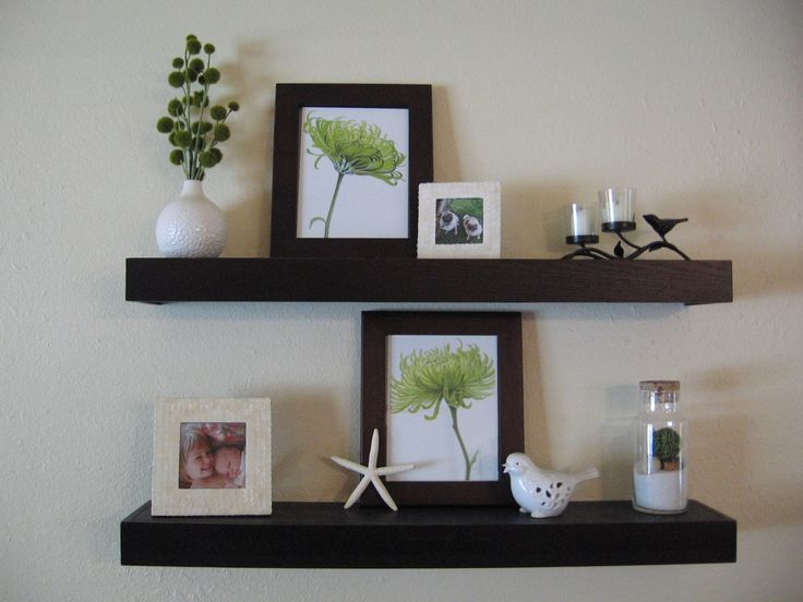 Staggard Floating Shelves Living Room