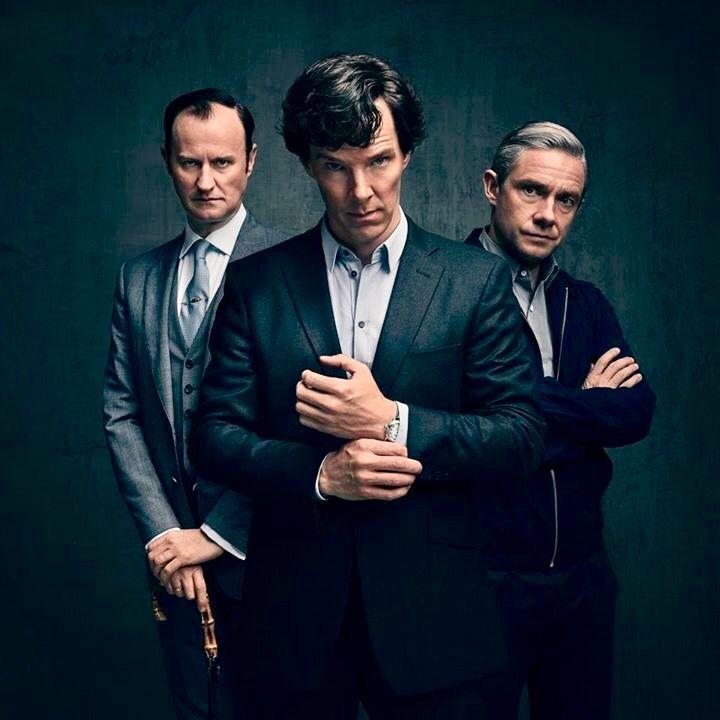 Mycroft (Mark Gatiss) Sherlock (Benedict Cumberbatch) Dr. John Watson (Martin Freeman)