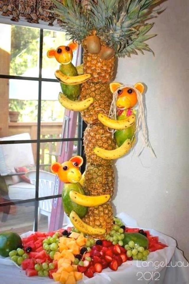 Monkey pineapple centerpiece party time pinterest