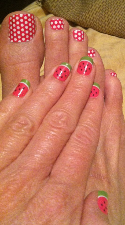 Magenta Polka and Watermelon! Not ready for summer if you don't have Jameberry!  http://karajo.jamberrynails.net/