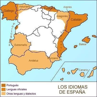 """Las lenguas de España. Белое пространство - испанский язык без особых примесей. Мы - на """"белом"""" севере! Приезжайте к нам! Получается, что Кантабрия - единственное место в Испании на побережье, где чистый испанский язык!"""