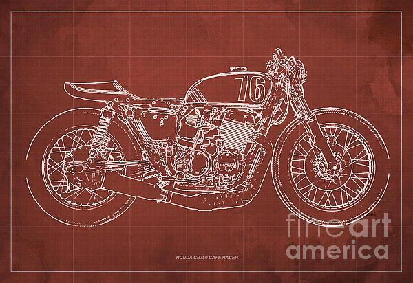 Check out Moto Guzzi Cafe Racer Blueprint, Art Print 12x8 to 60x41 - new book blueprint cafe