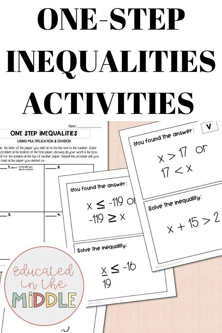 One Step Inequalities Activities In 2020 Inequalities Activities 7th Grade Math Inequality
