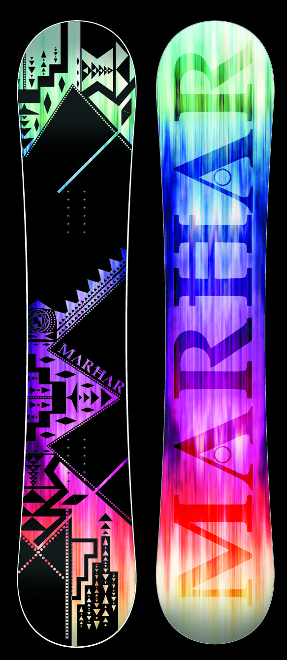 AURA [All Terrain Queen] This Queen of the mountain features our Rocker profile with a flex pattern perfect for a balanced all terrain freestyle deck. The Aura has surfy and smooth edge to edge transitions with serious edge hold from the Attack Arc sidecut. This versatile board does it all from park to powder to groomers. It has power, stability, and pop with the perfect amount of flex for the serious lady rider looking for a one quiver board. #marhar #snowboards #snowboarding #sport…