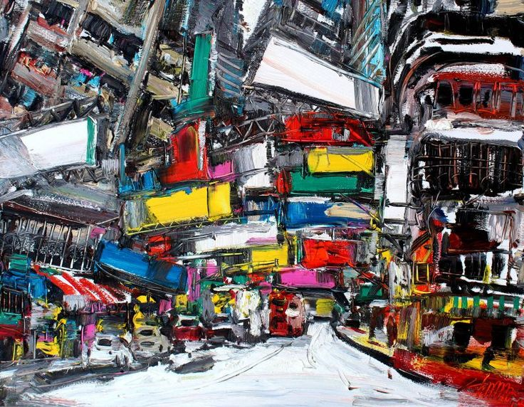Zhu Hong: Impression of Hong Kong, 2015, Oil on Canvas, 70 x 4.7 x 90 cm. Zhu Hong's understanding of, and passion for city life and architecture are expressed through the way he captures the spirit and essence of a building and its immediate surroundings.
