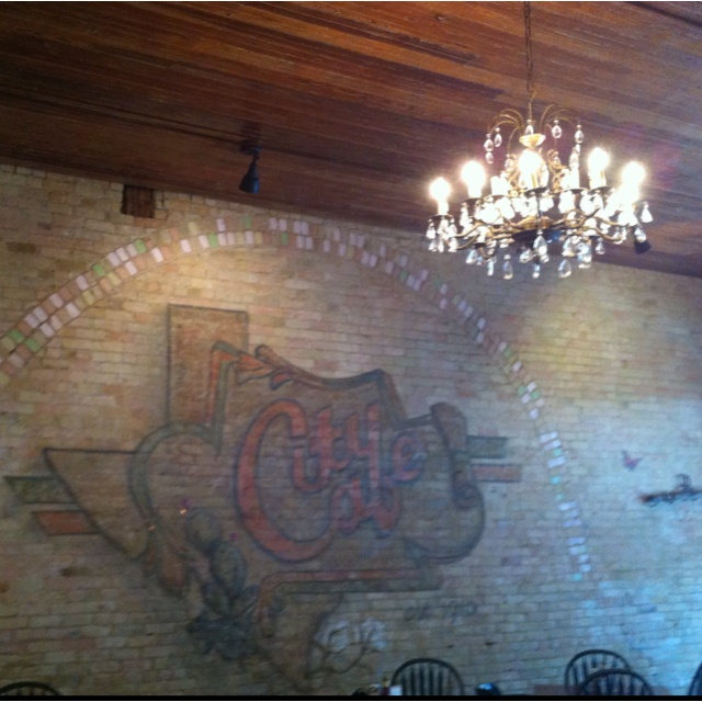 Cool brick wall & chandelier  City Cafe (Elgin, TX)