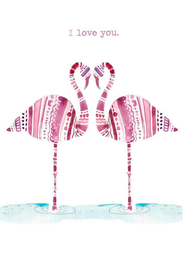I love you flamingos card