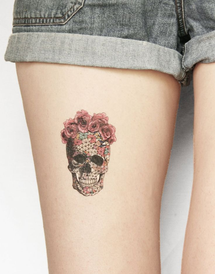 geometric skull temporary tattoo tattoos pinterest skull design flower skull and flower. Black Bedroom Furniture Sets. Home Design Ideas