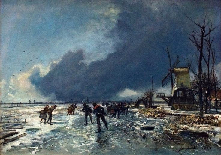 Johan Barthold Jongkind, Winter View with Skaters (1864), oil on canvas, dimensions not known, Teylers Museum, Haarlem. Wikimedia Commons.