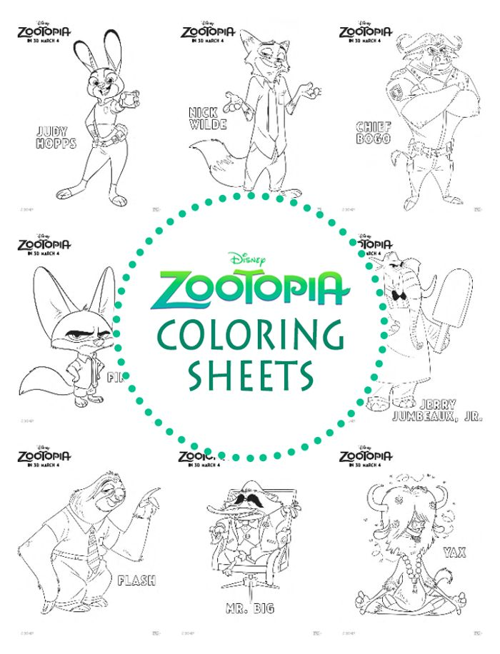 Zootopia Coloring Sheets from Disney with characters from the movie like Flash the sloth, Judy Hops, Nick Wilde, Chief Bogo, Mr. Big