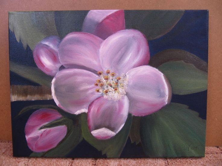 Jabloňový květ olej - Apple blossom - Oli painting