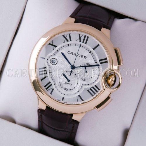 Ballon Bleu de Nice Cartier Extra Large Chronograph 18K Rose Gold Leather Watches