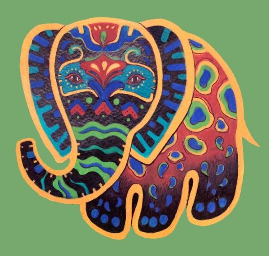 Abstract Folk Art Indian Elephant Art Print Maybe something for 3D Printer Chat?