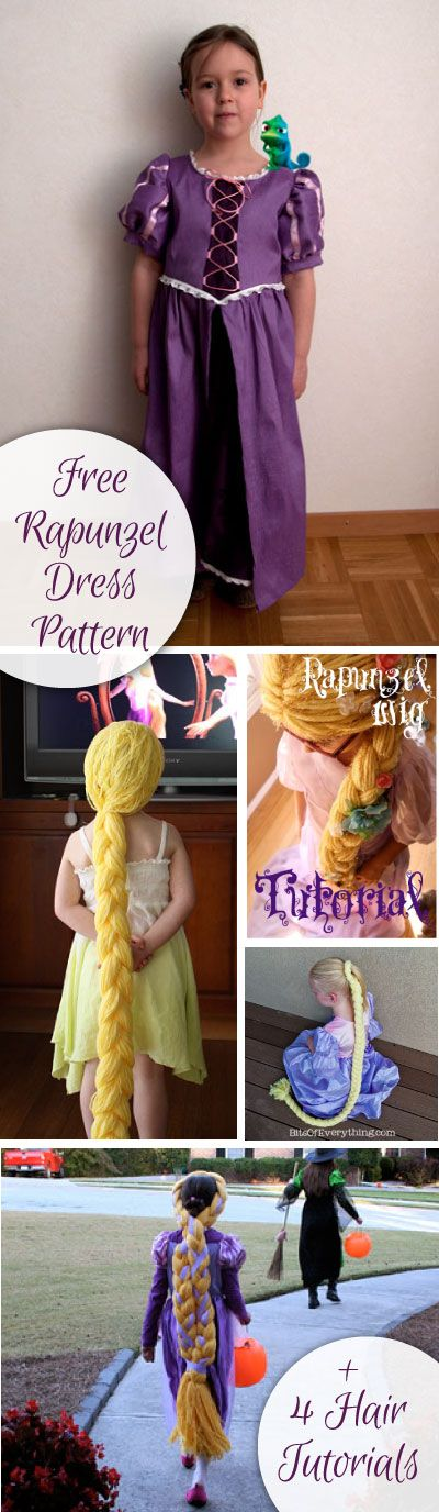Free Rapunzel Dress Pattern and 4 Rapunzel Hair Tutorials!  Perfect for a Halloween Costume or a Christmas Present for the Dress Up Box.