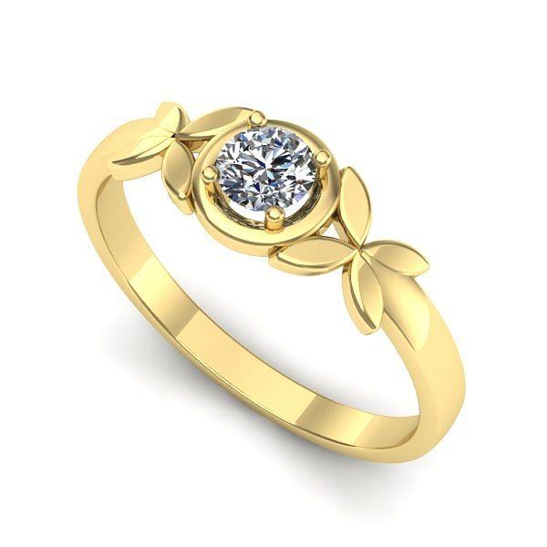 Inelul este realizat din aur galben 14k, greutate: ~2.20gr. Produsul are in componenta sa: 1 x diamant, dimensiune: ~4.30mm, greutate: 0.30ct , culoare: G, claritate: VS2, taietura: excellent, forma: round
