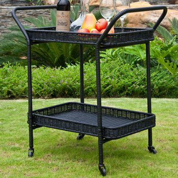 Outdoor Black Wicker Patio Serving Cart contemporary-patio-furniture-and-outdoor-furniture