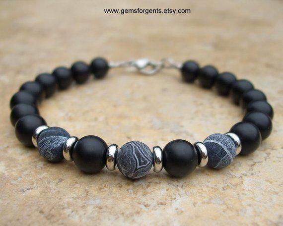 Men/'s GEMSTONE bracelet all 6mm FIRE CRACKLE AGATE beads