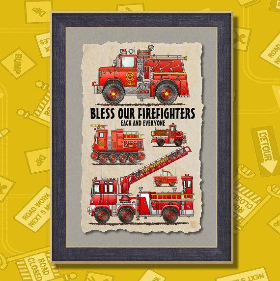 Fire Trucks Firefighter Equipment Poster Room by TwoBananasArt