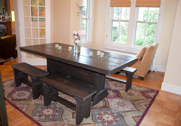 6 foot trestle table with benches. $649.00, via Etsy.