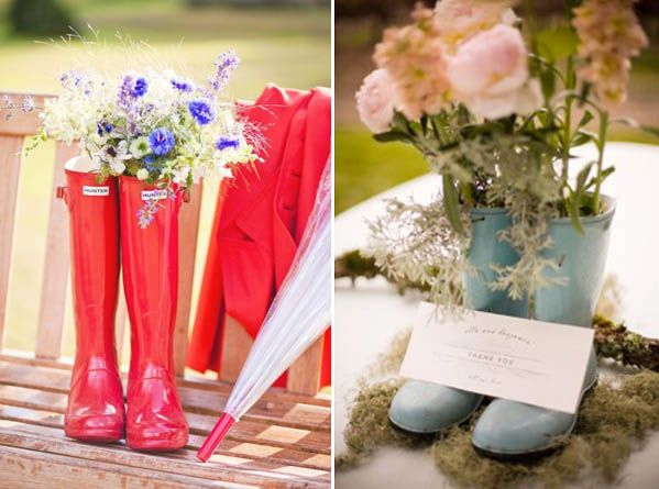 Cute if we need rain boots that day, turn them into rain boots wedding decor