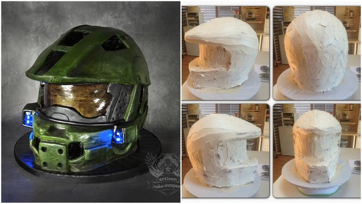 How to make a 3D Halo helmet cake.    Tutorial by Elizabeth Marek   Please click on the link to view Step-by-step...  http://artisancakecompany.com/2013/05/halo-helmet-cake-tutorial/