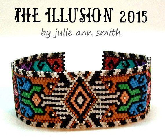 Julie Ann Smith Designs THE ILLUSION 2015 Odd Count Peyote Bracelet Pattern