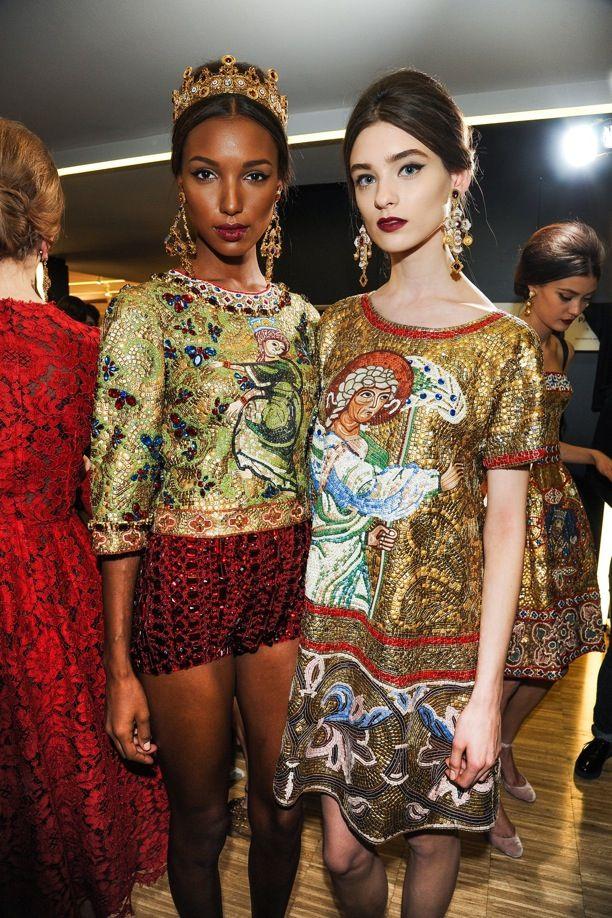 MFW Milan Fashion Week Backstage Dolce & Gabbana FW Fall Winter 2013 Ornate  Religious Mosaic Embroidered