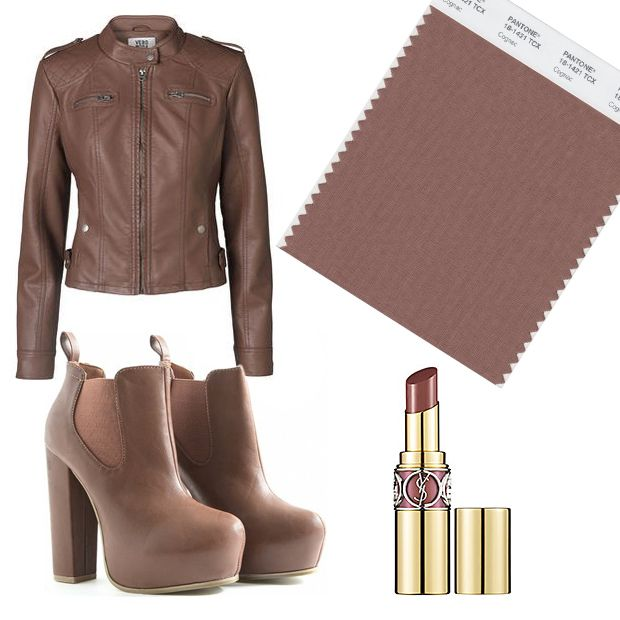 Cognac. This stylish cultured brown gives the outfit a typical autumn color, making the shade suddenly very suitable for an evening.