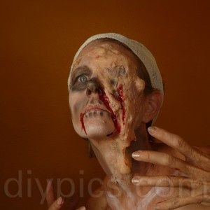 Zombie makeup using latex