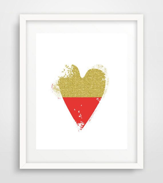 Gold Heart Print Red Heart print Red Heart poster red by Ikonolexi
