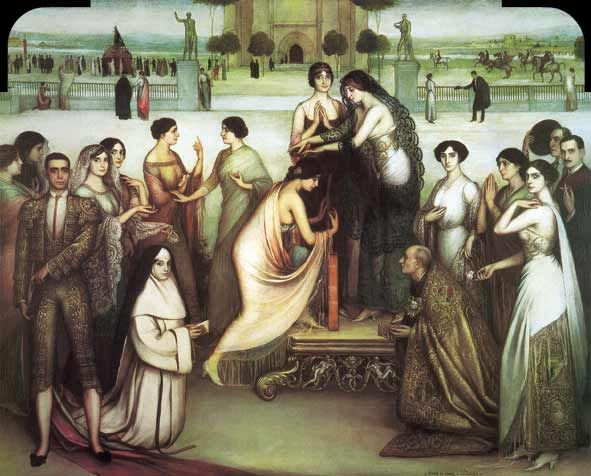 La Consagración de la Copla, 1912  Óleo y temple sobre lienzo. 228 x 285 cm.  Fundación Prasa. 🎨🎨🎨