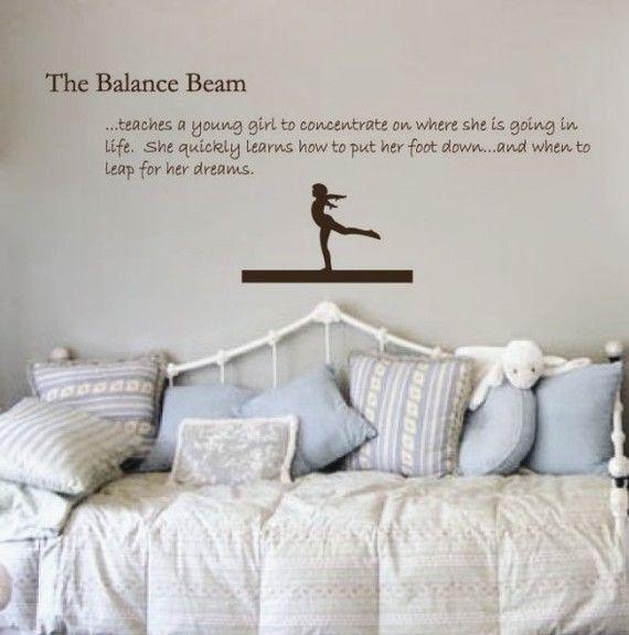 Gymnastics Decal Balance Beam Sticker Girls Wall by JaneyVinylArt