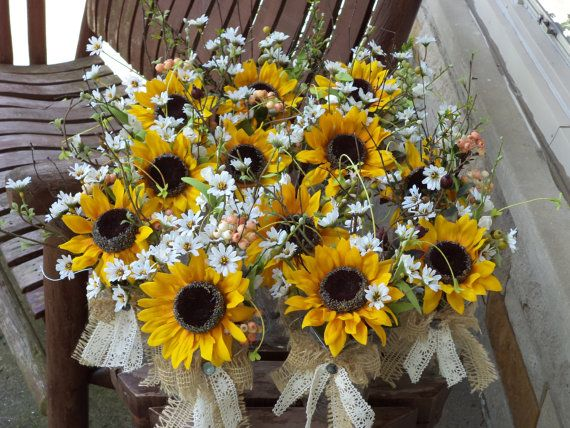 12 pc Rustic Sunflower Burlap and Lace Small Table Arrangements w/ Lifelike Berries and Greenery / Silk Wedding Flowers / Special Occasions