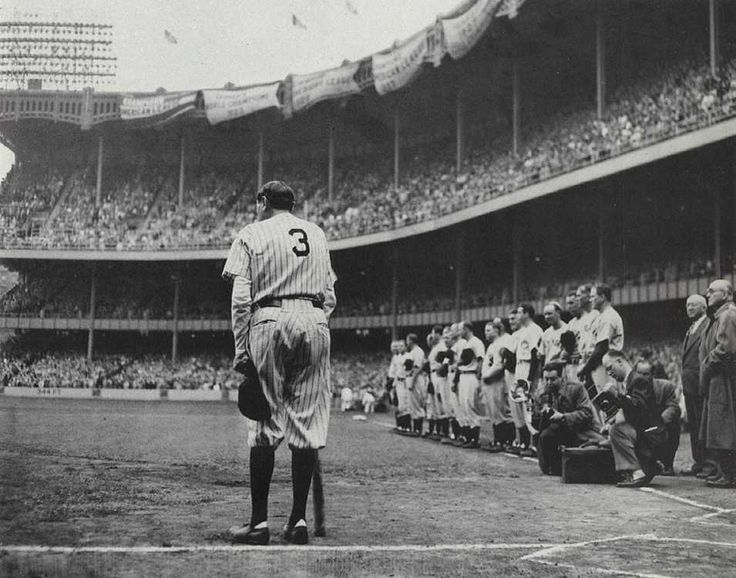 It was a gloomy dismal day in New York. June 13, 1948. The day that Babe Ruth announced his retirement to the Yankees due to illness. George Herman 'Babe' Ruth would die two months after this photo...