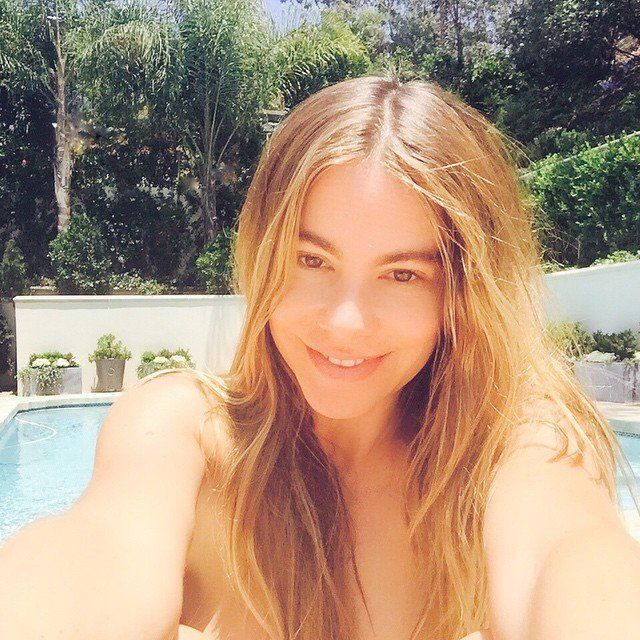 Pin for Later: These Makeup-Free Celebrity Selfies Will Inspire You to Bare It All Sofia Vergara Of course, the unapologetic Modern Family star wouldn't mind sharing a makeup-free shot at the pool with her millions of social media followers.