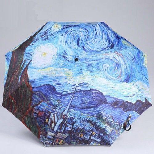 Van Gogh Painting Fashion Men Women Sun Parasol Rain Folding Compact Umbrella #LuluGuinness #CompactFolding