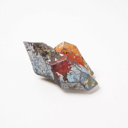 "Carina Chitsaz-Shostary, ""Volcanic islands"", brooch, 2013, graffiti, silver, steel"