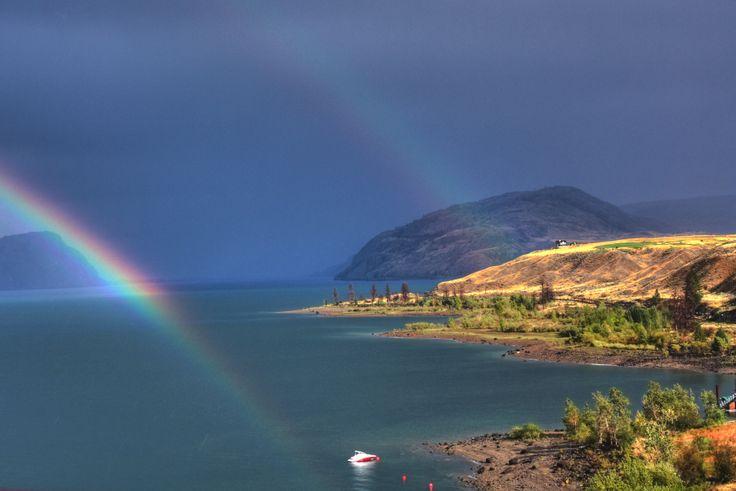 2011 Kamloops Lake - a double rainbow at sunset
