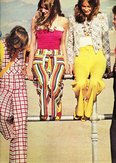 Seventeen Magazine, May 1973: High Waist Pants, 70S Fashion, Stripes Pants, Yellow Pants, 1970 S, Funny Clothing, 1970S, Seventeen Magazines, Rainbows Pants